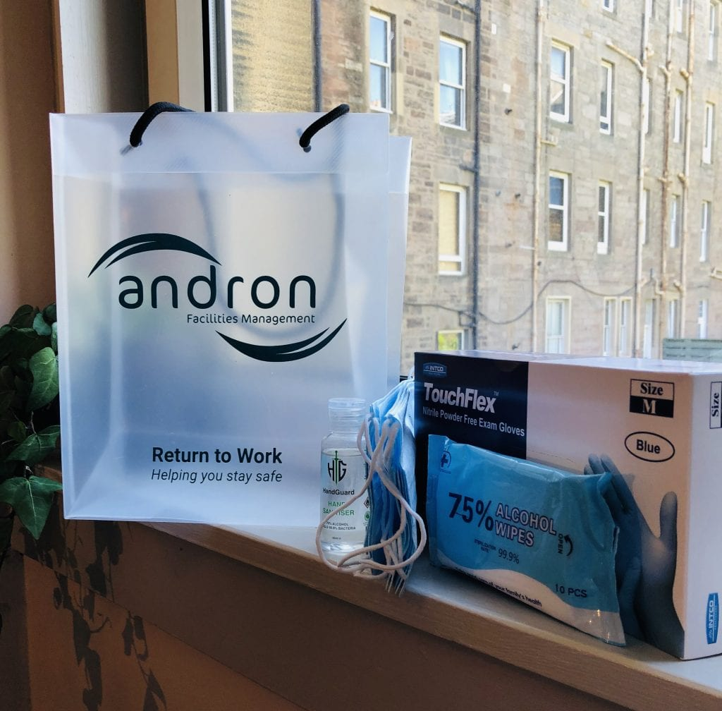 Employee return to work pack containing face masks, disposable gloves, hand wipes and hand sanitising gel