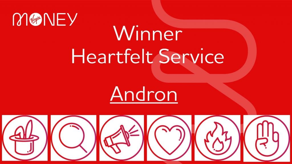 Andron certificate for heartfelt service award
